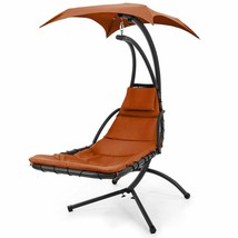 Modern Outdoor Lounge Chair Swing Hanging Curved Chaise Garden Stylish D... - $233.91