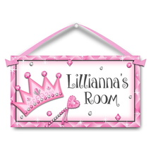 "Kids Door Sign, Diamond Crown, 5.5"" x 10.5"", Personalized Name Plaque - $13.00"
