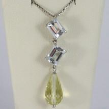 Halskette Weißgold 750 - 18K Aquamarin Schnitt Smaragd und Quarz Lemon T... - $969.02