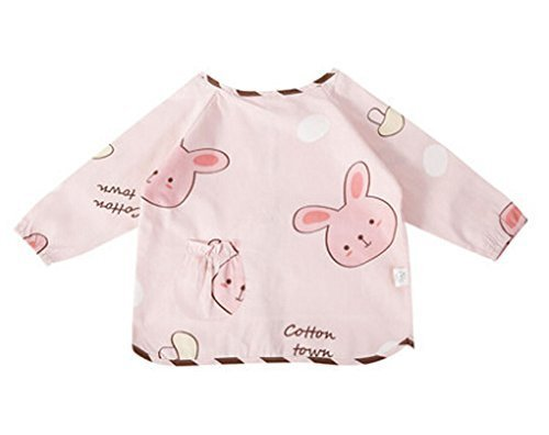 Cute Cartoon Cotton Waterproof Sleeved Bib Baby Feeding Bibs Style B, 2-5 Years