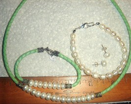 VTG 925 STERLING SILVER GREEN PINK LEATHER PEARL NECKLACE BRACELET EARRI... - $567.99