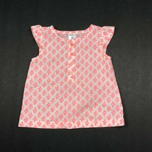 Carters Baby Girl Dress 9 Months Orange White Cotton Summer Floral Cap Sleeves - $8.99