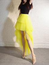 High Low Tulle Skirt Long Layered Tutu Skirt Outfit Plus Size Yellow Hi Low image 4