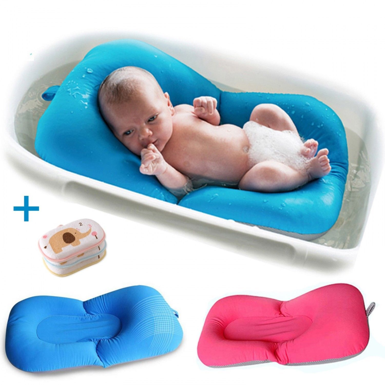 Baby Bath Tub Bed Pad Chair Shelf Shower Nets Bathing Pad Mat Infant ...