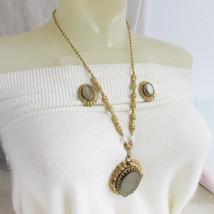 Vintage Western Germany Ornate Filigree Olive Green Pendant Necklace Ear... - $40.46