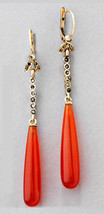 Victorian 0.45ct Rose Cut Diamond Coral Cute Wedding Dangler Earrings - $278.63