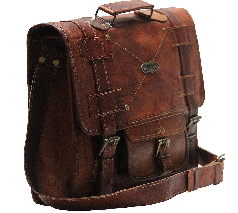 Men's Leather Messenger Shoulder Briefcase Bag For Business Work Office Use image 4