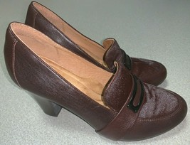 Sofft Misty Cow Fur Pumps Heels Shoes Mahogany Brown Loafers Womens Sz 9 1109300 - $39.60