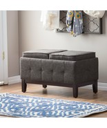 Contemporary Fabric Upholstered Charcoal Gray Storage Ottoman With Trays - $157.64