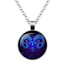 Glass Zodiac Signs 12 Constellations Pendant Necklace for Women,Astrology Statem - $10.34