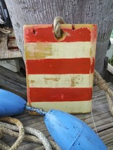 Hand Painted Rustic Red and White Wooden Flag Stripes Jute Rope Hanger - $9.95