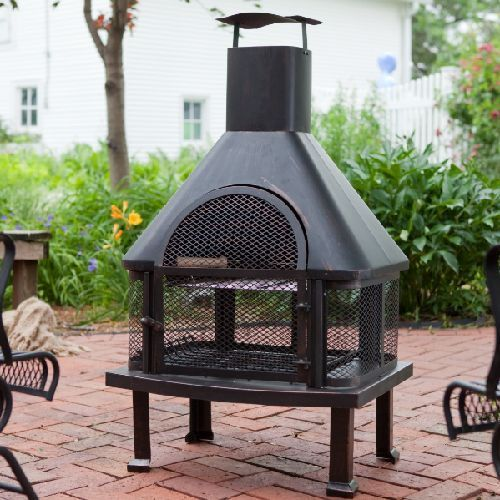 Outdoor Fireplace Patio Fire Pit Wood Burning Pit Chiminea ... on Outdoor Fireplace Pit id=47002