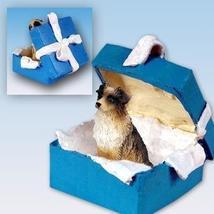 Australian Shepherd Brown Gift Box Blue Ornament - $14.99
