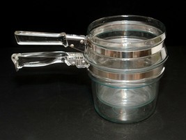 Vintage 6283U Pyrex Glass Flame Ware 1 1/2 Quart Double Boiler 6763U Do... - $19.31
