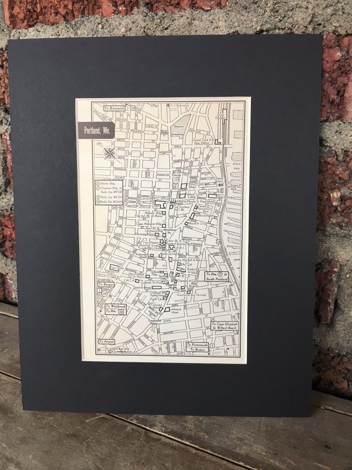 City Map of Portland Maine 1958 Mid Century Black Matted 8x10 Art Print travel