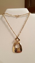 Retro Vintage Hammered Gold Tone Drop Pendant Necklace - $26.00