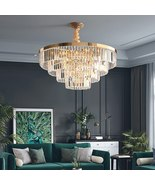 Shiny Gold Ceiling/Chain Lighting Fixture Large Luxury Modern Crystal Ch... - $1,249.99+