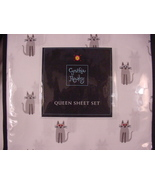 Cynthia Rowley Gray Cats with Sunglasses Microfiber Sheet Set Queen - $75.00