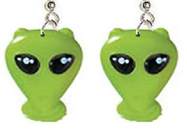 Green Alien EARRINGS-Sci-Fi Martian Roswell Cosplay Costume Funky Jewelry-HUGE - $9.97