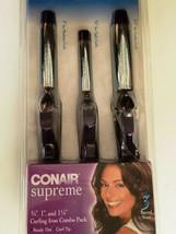 "Conair Supreme Curling Iron Combo 3 Pack  3/4"" - 1"" - 1 1/4"", Model CB433RCS New - $27.70"