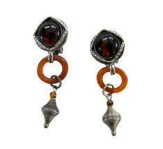 Robert Rose Pewter with Tortoise Lucite Dangle Drop Earring Clips - $22.00