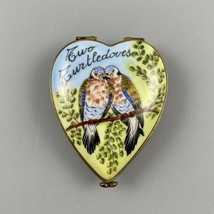 Limoges Heart Shaped Two Turtledoves Pill Trinket Box Christmas Holiday - $79.19