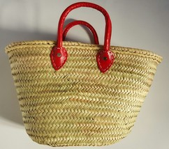 Sale  Basket with hand sewing leather handles red (choose)