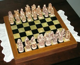 Rare Vintage Soapstone KOREAN CHESS SET Wood Board Case Collectible Game - $389.95