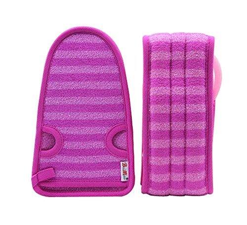 2 Of Soft Bath Mitts Exfoliating Gloves Bath Belts for Female, PURPLE