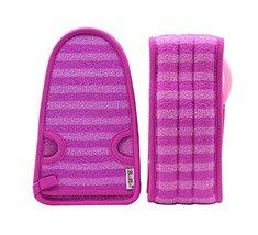 2 Of Soft Bath Mitts Exfoliating Gloves Bath Belts for Female, PURPLE