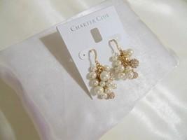 """Charter Club 1-3/4"""" Gold Tone Kiska Pearl Dangle Drop Earrings N892 $29 - $11.51"""