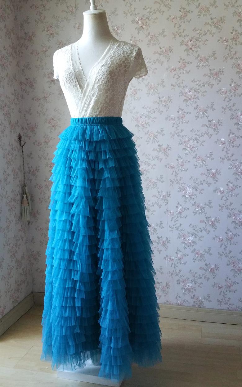 Blue 24 floor length tulle skirt 780 5