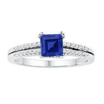 10kt White Gold Princess Lab-Created Blue Sapphire Solitaire Ring 1.00 Ctw - £204.80 GBP