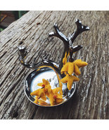 Tribal yellow dangle earrings, Handmade Flowers, glass beads & leather s... - $13.99