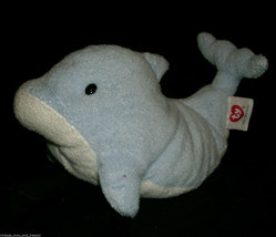 "9"" Ty Pluffies Chanclas The Blue Blanco Ballena Peluche Peluche 2007 Suave - $13.33"