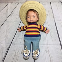 """Fisher Price Joey #206 Lapsitter Cloth Doll 14"""" Tall baby with sombrero - $18.48"""