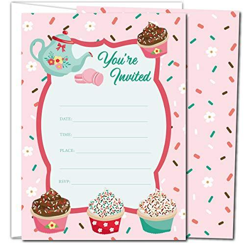 Gooji Cupcake Party Invites – Large 25pcs Double Sided Tea Party Invitations Wit