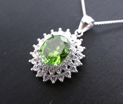 Large Green Diopside Necklace - Sterling Silver Double Layed Diamond Sol... - $149.00