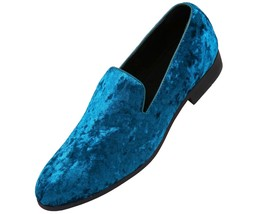 Handmade Blue Rounded Toe Party Wear Stylish Men Moccasin Loafer Slip Ons Shoes image 1