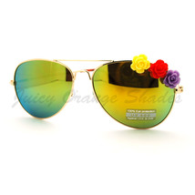 Rose Flower Decor Womens Aviator Sunglasses Thin Metal Frame - $9.95