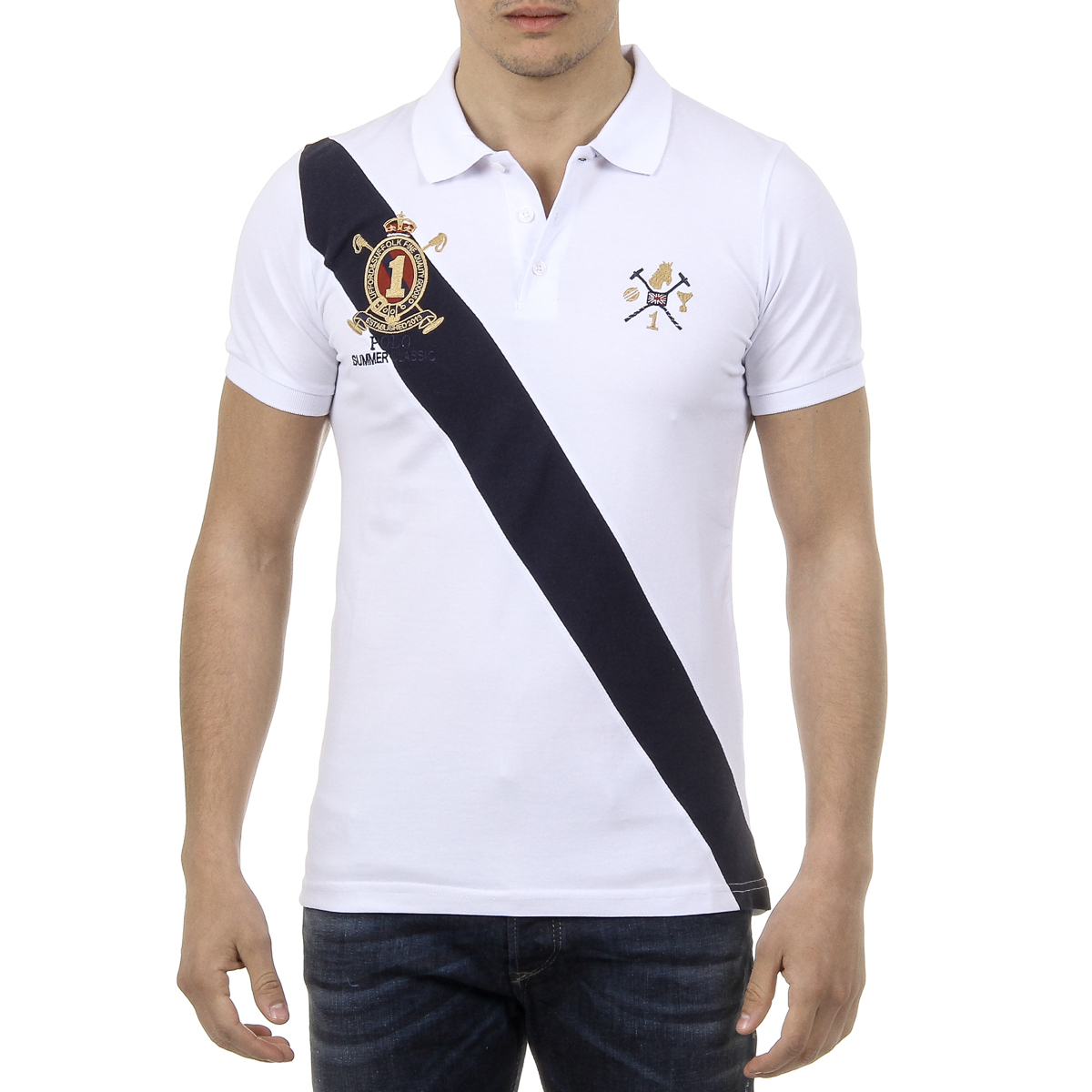 Primary image for Ufford & Suffolk Polo Club Mens Polo Short Sleeves US004 WHITE