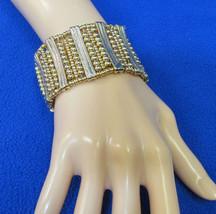 Macys Stretch Bracelet Gold Tone Metal Beads Cu... - $11.87