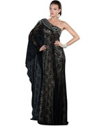 Sexy One Shoulder Grecian MOB Prom Black or Ivory All Over Lace Lined Dr... - $244.99