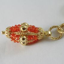 SILVER 925 NECKLACE YELLOW GOLD PLATED WITH HANGING CHARM MILLED AND CARNELIAN image 2