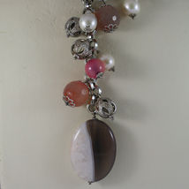 .925 SILVER RHODIUM NECKLACE WITH WHITE PEARLS, AND PINK, PURPLE AND BROWN AGATE image 3