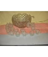 Vintage 38 Pc L E Smith Button  Daisy Large Glass Punch Bowl 18 Cups Gla... - $188.09