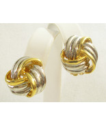 SILVER n GOLD Plated LOVE KNOT Scored Clip Earrings Vintage Knot Classic... - $15.83