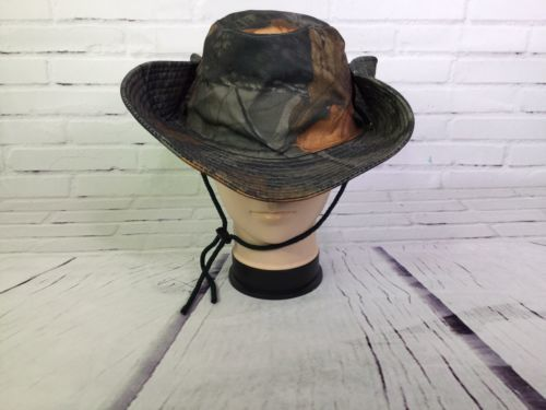 Realtree Hardwoods Camo Bucket Boonie Hunting Drawstring Hat With Snap Button