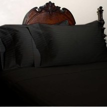 KING SIZE BLACK STRIPED BED SHEET SET 800 THREAD COUNT 100% EGYPTIAN COTTON - $55.94