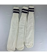 Vintage SOCKS Striped Tube Sock White Purple 70s 80s USA Tall Over Calf Gym - $39.99